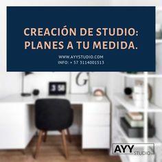 Mira nuestros planes que tenemos para Crear un Studio. Info: + 57 3114001513 . www.ayystudio.com Office Desk, Studio, Furniture, Home Decor, Bucaramanga, Lights Camera Action, Create, Desk Office, Decoration Home