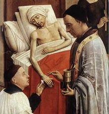 The Seven Sacraments Altarpiece triptych painting of Extreme Unction (Anointing of the Sick) with oil being administered by a priest during last rites. Rogier van der Weyden, c. Seven Sacraments, Catholic Sacraments, Catholic Bible, Roman Catholic, Extreme Unction, Robert Campin, Renaissance, Last Rites, The Rite