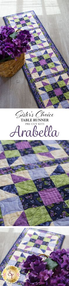 "Sister's Choice Table Runner Pre-Cut Kit - Arabella A quilter's dream come true! This stunning Sister's Choice table runner features basic piecing but will wow your guests with its complex look. Piecing is made even simpler with this kit because the fabrics come already steam pressed and pre-cut! Table Runner finishes to 13"" x 58""."