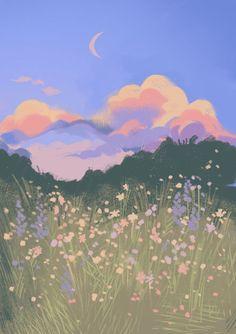 Anime Scenery Wallpaper, Aesthetic Pastel Wallpaper, Wallpaper Backgrounds, Aesthetic Wallpapers, Painting Wallpaper, Daisy Wallpaper, Hippie Wallpaper, Aesthetic Painting, Aesthetic Art