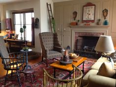 FARMHOUSE – INTERIOR – family room done in colonial style.