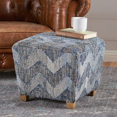 Rorrey Multi Colored Fabric Ottoman with Mango Wood Frame