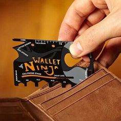 Wallet Ninja 18 in 1 Multi-purpose Credit Card Size Pocket Tool Ninja, Free Samples By Mail, Cell Phone Stand, Camping Gear, Card Sizes, Card Holder, Tools, Wallet, Knives