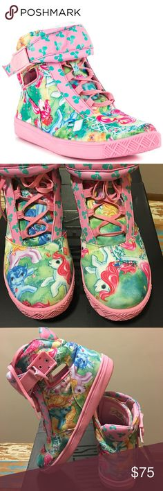"""💕Iron Fist My Little Pony Sneaker💕 Walk in a cloud with these super adorable sneakers by Iron Fist...I love the old school My Little Pony detailing on these and comfort is no question here..cute lace up style with a cross """"buckle"""" at the ankle..no rips/tears/stains..worn once and decided to let go due to a massive shoe collection..I believe these are sold out..will come with original box 💕 Shoes Sneakers"""