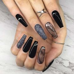we like to browse with you the most amazing Trendy Black Coffin Nails Art Styles and ideas for this year that you can copy and try. Our top black coffin nails are packed with glitter black nails, ombre, marble nail art and more. Black Coffin Nails, Black Acrylic Nails, Best Acrylic Nails, Glitter Nail Art, Nail Black, Black Glitter Nails, Acrylic Summer Nails Coffin, Cute Black Nails, Black And Purple Nails