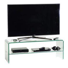 Porta TV Glass110 in cristallo curvato trasparente 110 cm