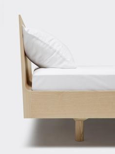 """leibal: """"AIS is a minimalist bed frame created by Zürich-based designer Jörg Boner. Two lines form a bed frame. One inner edge, slanting towards the contents of the bed, and one outer edge,. Minimalist Bed Frame, Oak Beds, Bed Base, Apartment Furniture, Bed Design, Design Trends, Furniture Design, Two By Two, Interior Design"""