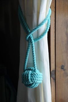 Nautical Decor - Nautical Curtain Tie Backs - Aqua Curtain Tiebacks - (this is f. - Nautical Decor – Nautical Curtain Tie Backs – Aqua Curtain Tiebacks – (this is for on Etsy - Aqua Curtains, Nautical Curtains, Nautical Bedroom, Coastal Bedrooms, Nautical Home, Trendy Bedroom, Coastal Homes, Bedroom Curtains, Nautical Knots