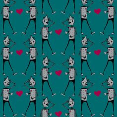Oz Tin Man with Hearts in teal fabric by corygami on Spoonflower - custom fabric