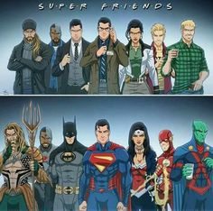 Let's see if I can recall their names from the left to the right: Arthur Curry. Victor Stone. Bruce Wayne. Clark Kent. Diana Prince. Barry Allen. J'onn J'onzz. How could I possibly forget their names???