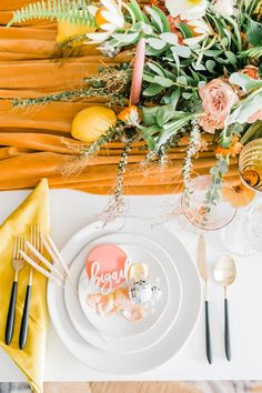 Spring Fever inspired styled shoot at La Piñata + Feathered Arrow Events using orange, pink and yellow in your wedding, wildflower centerpiece Wildflower Centerpieces, Pumpkin Centerpieces, Wedding Table Centerpieces, Wedding Flower Arrangements, Centerpiece Ideas, Flower Table Decorations, Wedding Decoration, Spring Decorations, Beautiful Calligraphy