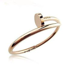 - Stainless Steel Nail Style Love Bangle Bracelet Oval High Polish Silver - Nail Bracelet is 7.5 Inch Wrist - Nail Bracelet is 4mm Thickness - Hypoallergenic