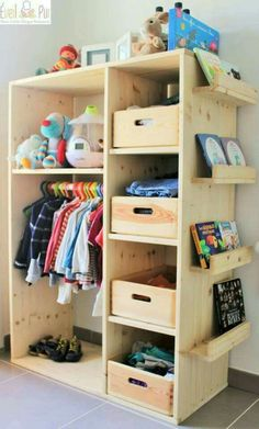 great storage idea for kids and adults! Especially in older homes without closets!