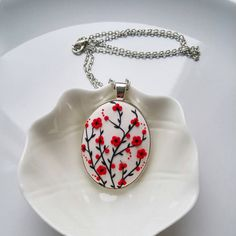 Items similar to MADE TO ORDER - White & Red Unique Handmade polymer clay paste necklace Applique in silver plated cameo frame on Etsy Clay Keychain, Polymer Clay Necklace, Polymer Clay Pendant, Polymer Clay Charms, Polymer Clay Art, Handmade Polymer Clay, Clay Beads, Polymer Clay Miniatures, Polymer Clay Projects