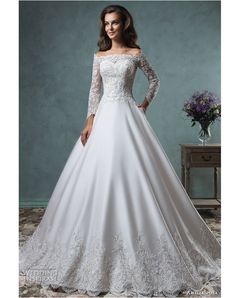 Amelia Sposa 2016 Wedding Dresses — Volume 2 off the shoulder lace long sleeves embroideried bodice beautiful satin a line ball gown wedding dress canty. 2016 Wedding Dresses, Wedding Attire, Bridal Dresses, Wedding Gowns, Bridesmaid Dresses, Eve Of Milady Wedding Dresses, Lace Wedding, Dresses 2016, Casual Wedding