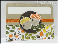 Acorny Thank You Pocket Card for the SUO Challenge this time.  Gift Card holder, Stampin' Up!, #stampinup, fall, created by Connie Babbert, www.inkspiredtreasures.com