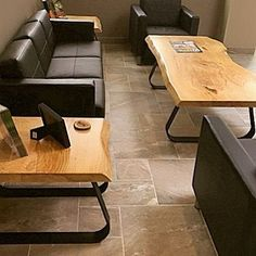 """134 Likes, 4 Comments - The Timeless Material Co. (@timelessmaterialco) on Instagram: """"This customer's office space got a boost of wow when they added some very cool tables with live…"""""""