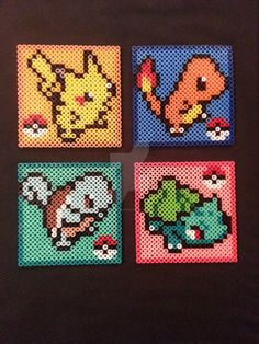 My first set of Pokemon Perler Coasters! These are for sale in my Etsy store! Check it out. www.etsy.com/shop/AshMoonDesig…