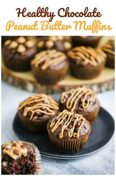 butter chips Healthy Chocolate Peanut Butter Muffins - Healthy indulgent Chocolate Peanut Butter Muffins are the perfect sweet treat for a quick snack or breakfast on the go! Peanut Butter Muffins, Healthy Peanut Butter, Chocolate Peanut Butter, Chocolate Recipes, Vegan Chocolate, Vegan Muffins, Healthy Muffins, Healthy Desserts, Healthy Chocolate Snacks