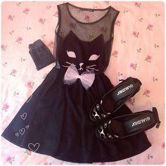 Buy black cat outfit at Wish - Shopping Made Fun Style Emo, Style Lolita, Mode Lolita, Grunge Style, My Style, Pastel Goth Fashion, Kawaii Fashion, Lolita Fashion, Cute Fashion