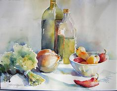Bowl of Peppers by Yvonne Joyner Watercolor ~ 20 in. including mat x 26 in… Watercolor Fruit, Watercolor And Ink, Watercolour Painting, Watercolor Flowers, Watercolors, Still Life Drawing, Still Life Art, Fruit Kabobs Kids, Fruit Picture