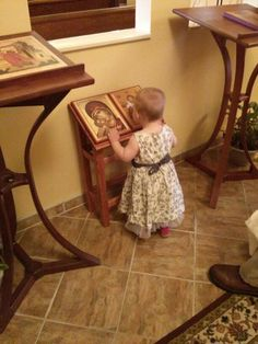 A children's icon stand. Made by Fr Stephen Freeman at St Anne Orthodox Church, Oak Ridge, TN. **Would be a neat idea for the narthax at church** Catholic Altar, Roman Catholic, Orthodox Catholic, Religious Icons, Religious Art, Prayer Corner, Home Altar, Orthodox Christianity, Orthodox Icons