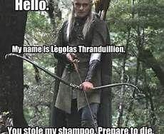 legolas funny. but his last name is greenleaf. but so is his first name because legolas means greenleaf.... greenleaf greenleaf... his life must be pretty wierd!