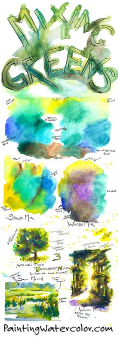 How to Mix Greens Watercolor Painting Lesson by Jennifer Branch
