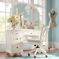 Teen girl's room! mirror fold down, it becomes desk? Love this! I hav an old vanity similar to this but i wish the Mirrors folded