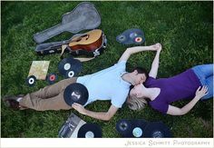 Fun with records! #engagement #photography #vinyls #guitar