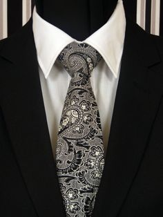 Paisley Necktie, Paisley Tie, Mens Necktie, Mens Tie, Black Necktie, Black Tie, White Necktie, White Tie, Father, Christmas, Gift, Wedding by EdsNeckties on Etsy
