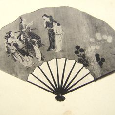 Vintage Japanese Print Hand Fan with Ukiyoe by VintageFromJapan, $6.50