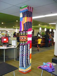 Library yarnbomb! Love it.