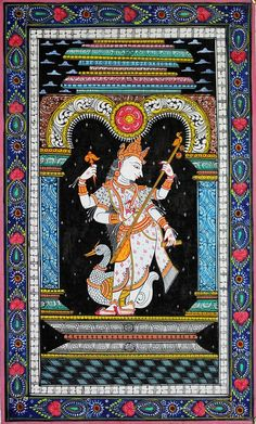 Orissa Patachitra Goddess Saraswati - Handpainted Art Painting - X Buy Paintings Online, Online Painting, Mural Painting, Painting & Drawing, Indian Folk Art, Madhubani Painting, Hindu Art, Arabian Nights, Indian Paintings