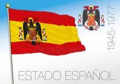 Bandierina storica Estado Espanol e cappotto delle armi, Spagna, 1945-1977