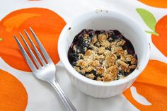 Mouth-watering single serving blubbery cobbler- low carb, gluten free, grain free, vegan, sugar free, and only about 80 calories!