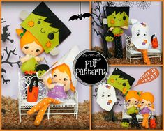 PDF. Halloween Franky and ghost dolls with masks and bags .Plush Doll Pattern…