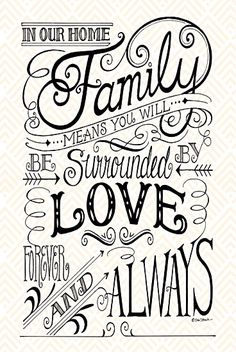 Inspirational Home Decor Signs Of Family Love Forever And Always Window Quotes Doodle