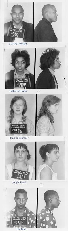 Mugshots of civil rights activist Freedom Riders, Jackson Mississippi, 1961.