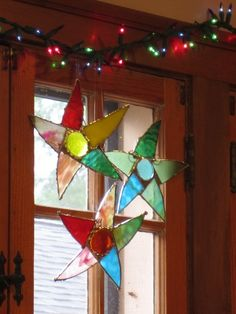 3 Sassy Pants PARTY STARS Whimsical stained glass set of 3 ornaments f