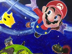 Super Mario Galaxy - Artist RitaRocketArt on Twitch Super Mario Bros, Artist, Fictional Characters, Fantasy Characters, Amen, Artists