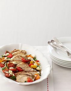 With this easy recipe, you can have a delicious Greek-inspired grilled chicken dinner.  Recipe: Grilled Chicken with Greek Flavors   - CountryLiving.com