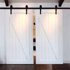 Barn Door Hardware 12ft Arrow Black Double Door #remodelinggarage
