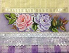 Toalhas de lavabo. Flores. Rosas.