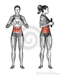 Fitball exercising. Oblique Twist with Weight Plate. Female