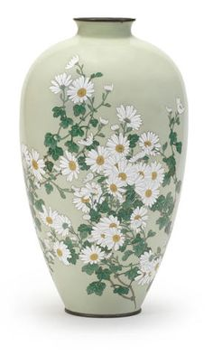 A cloisonné enamel ovoid vase Meiji era Japanese Vase, Japanese Porcelain, Blue Pottery, Pottery Art, Porcelain Ceramics, Ceramic Art, Satsuma Vase, Kitchen Ornaments, Meiji Era