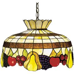 20 Inch W Fruit Pendant - Custom Made. 20 Inch W Fruit PendantA Meyda Tiffany original classic stained glass design. This delightful basket of ripe luscious threedimensional fruit, Golden pears; Ruby Red cherries;Crimson apples and Amethyst grape clusters, will whetyour appetite for color. The fruit is topped withCinnamon and Cream bands and touches of Sage Green leaves. The chain and canopy are hand finished inMahogany Bronze. Theme:  ART GLASS Product Family:  Fruit Product Type:...
