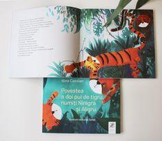 Carte frumoasă pentru copii, pusă în pagină în atelierul nostru. Nina Cassian - Povestea a doi pui de tigru, numiți Ninigra și Aligru Cover, Books, Atelier, Libros, Book, Book Illustrations, Libri