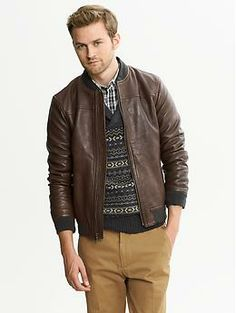 Banana Republic Brown Leather Bomber Jacket  http://bananarepublic.gap.com/browse/product.do?cid=85240&vid=1&pid=685869002