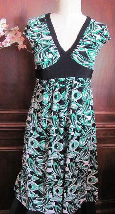 Bisou Bisou Michele Bohbot Green Black Dress 4 #BisouBisou #WrapDress #Casual